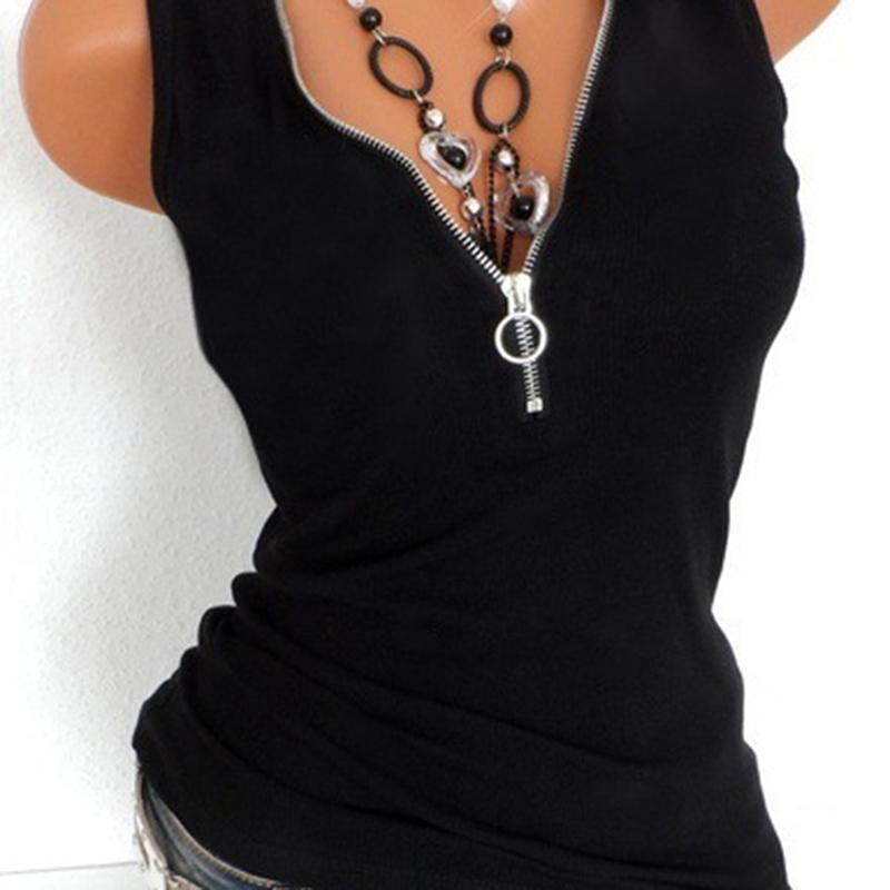 Sexy tank Cami Tops Moda con cuello en V cremallera para mujer Chaleco de verano Camisa sin mangas Casual suelto Tallo grande Roupas