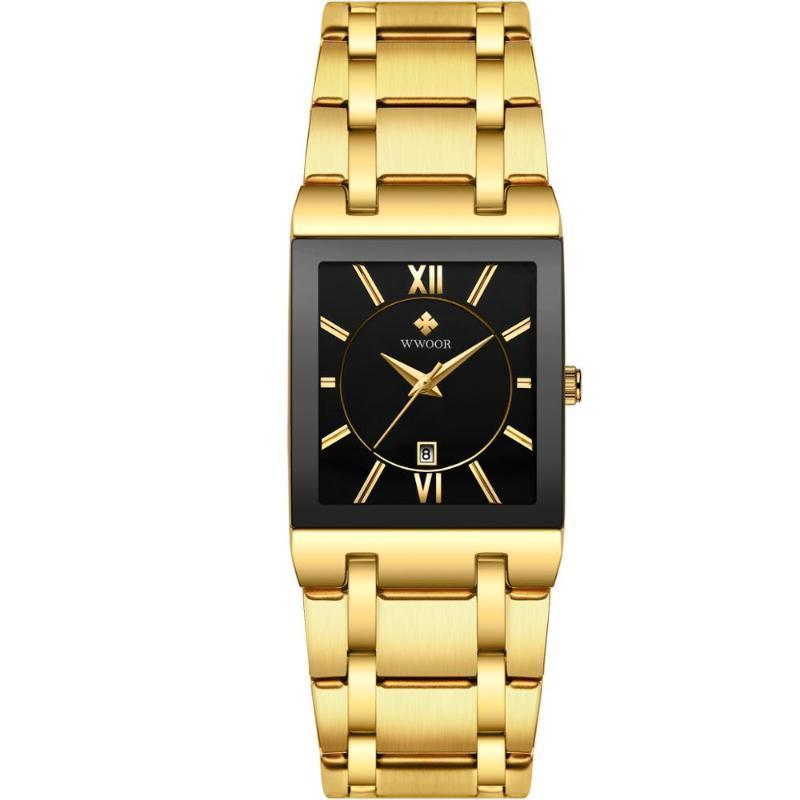 Armbanduhren 2021 Top Wwoor Männer Uhren Golden Black Case Quarz Bewegung Square Kalender Männliche Uhr Wasserdichte Geschenke