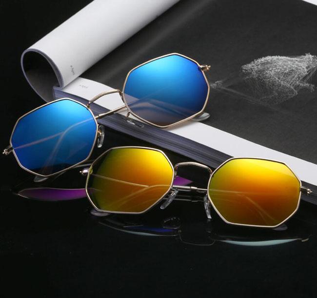 Moda octogon óculos de sol homens mulheres 54 designer uv400 lentes moldura de metal sol óculos ao ar livre Shades 1972 com casos