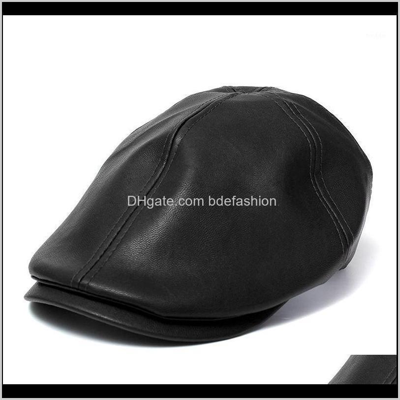 Bereliler Şapkalar Şapkalar, Atkılar Eldivenler Moda AessoriesFemale Erkek Bere Şapka Deri Cap Trucker Visor Unisex Bonnet Black1 Bırak Teslimat 2