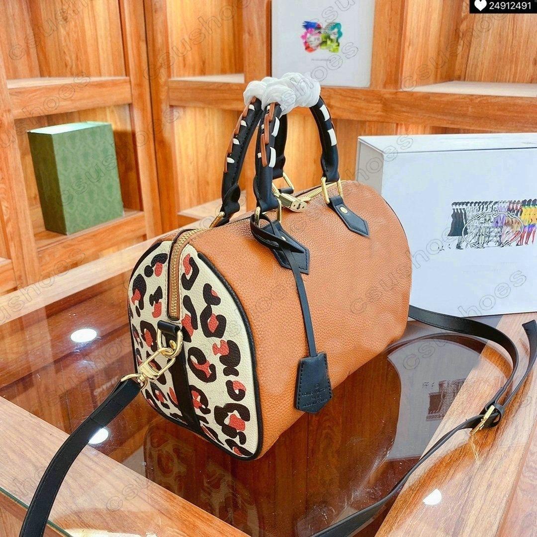 Speedy Bandouliere 25 с жирным леопардом Print Designer Boston Bags 2021ss Wild на сердце женщины негабаритные тиснение монограммы сумочки ручки Toron