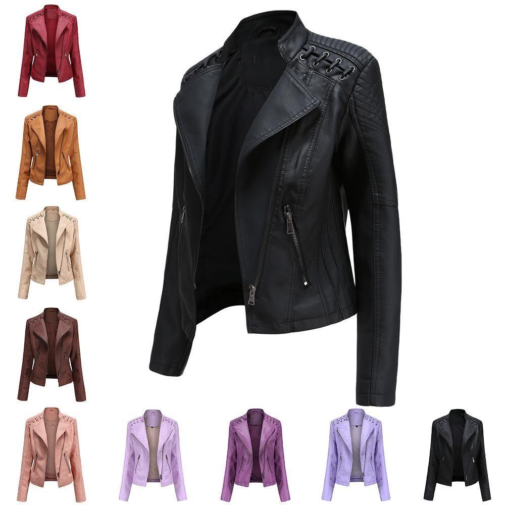 La nuova molla e giacca da donna in pelle da donna in pelle sottile giacca da donna in pelle da donna abitanti locomotive
