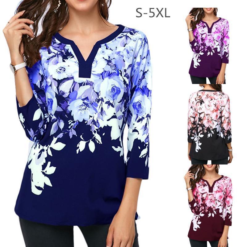 Camiseta para mujer Camisa elegante de la impresión floral de la camisa de manga larga con cuello en V Señoras Casual Flor Blusa Plus Tamaño 5XL