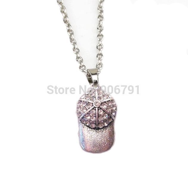 50pcs A Lot Rhodium Plated Zinc Studded With Sparkling Baseball Or Softball Ball Cap Crystal Pendant Necklace Necklaces