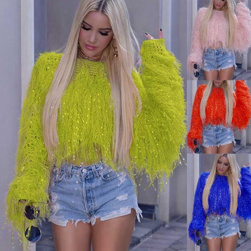 Женские кисточки с длинными рукавами Короткая блузка Сексуальный свитер Женские свитера