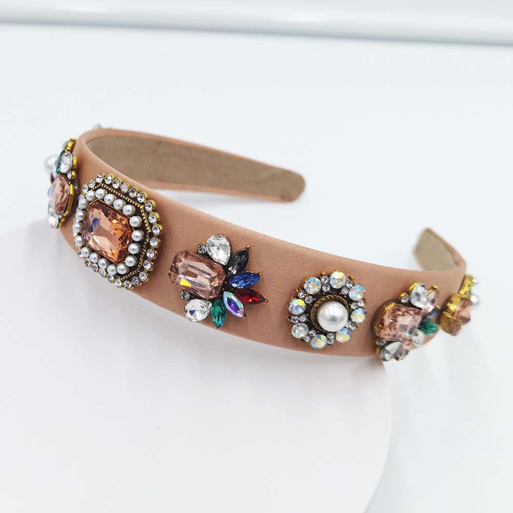 2021 Mode Beliebte Glasbohrer Haarband Frühling und Sommer Bunte Tuch Kunst Stirnband Perlenpalast Stil Kopfschmuck Kopfband Stirnband