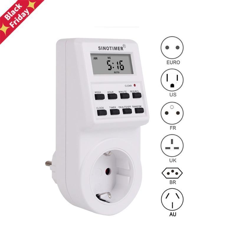 US DF BR PLUG PROGRAMMER Digital Weekly Programmabile programmabile Timer Switch Outlet Outlet Orologio Socket 220V 110 V Timer