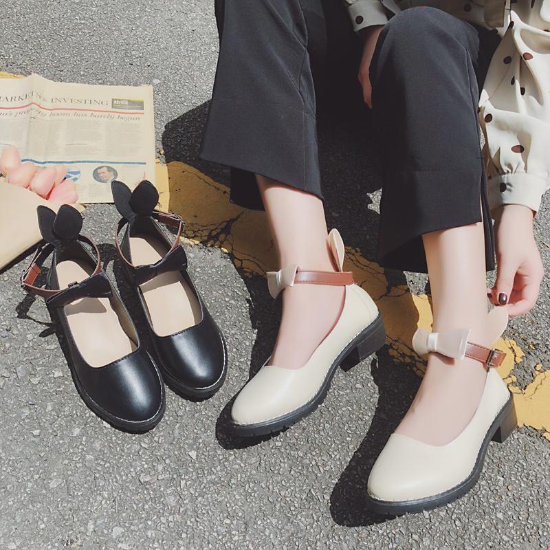 Dress Shoes 2021 Spring Leather Cute Style Women's Female Retro Mary Jane Word Buckle Soft Bottom Lolita Single U18-61