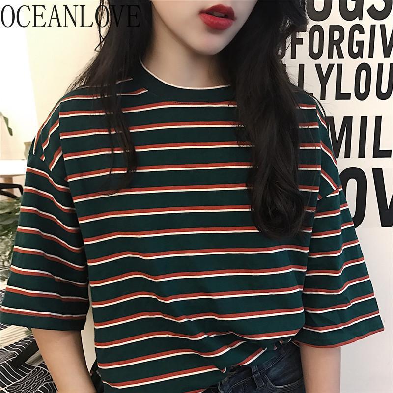 Moda de rayas para mujer T Shirt Spring Verano Coreano Todos los partidos Camiseta Camiseta de manga corta Estudiante casual Ropa Mujer 14895 210415