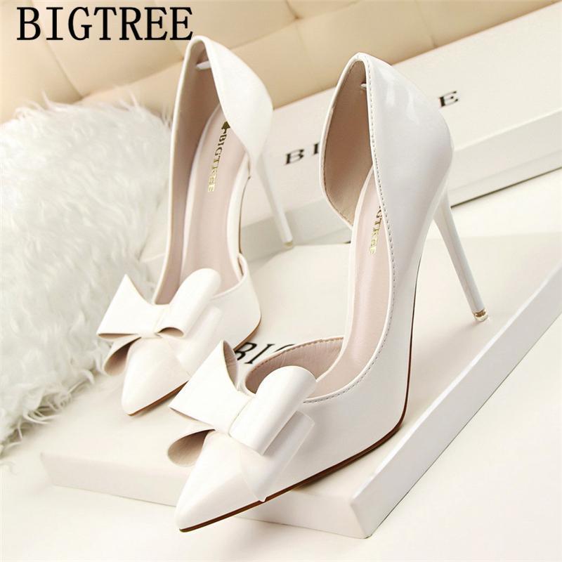 Zapatos de boda blancos BigTree Fetish High Tacones Altos Vestido Sexy Mujer Black Stiletto Taconas de Lujo Mujer
