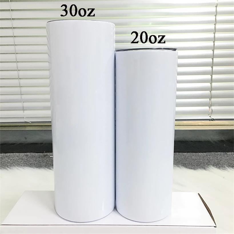 20 oz / 30oz Düz Sıska Kupalar Boş Beyaz Süblimasyon Saman ve Kapaklı Paslanmaz Çelik Tumblers Hızlı Teslimat