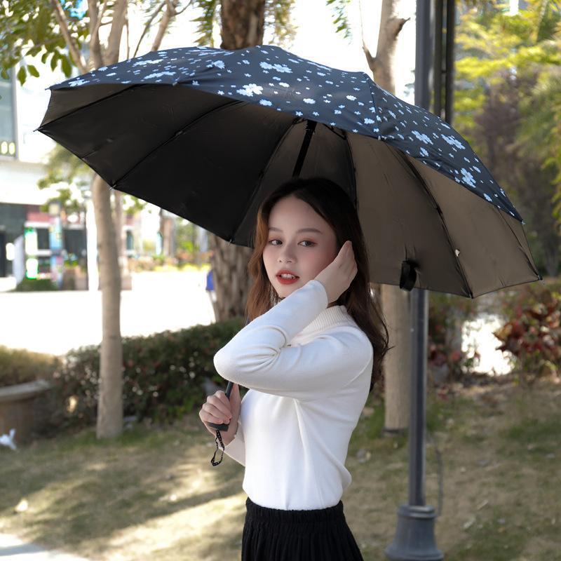 Umbrellas Ten-bone Sun Rain Umbrella Parasol Female Plegable Sombrillas Paraguas Guarda Chuva Windproof Women 3 Folding Parapluie