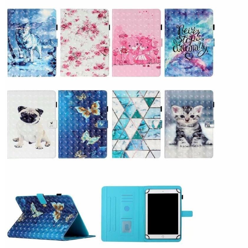 Animaux à motifs 3D Cuir Flip Universal 7 8 Tablettes 10 pouces Étui de comprimés pour Huawei Lenovo Samsung Asus Acer Tablette Couverture de protection