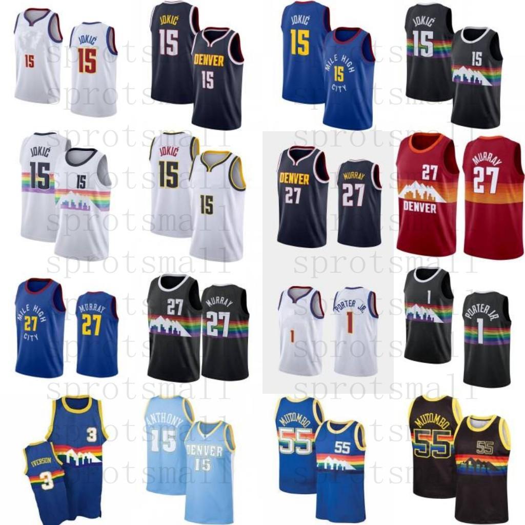 15 Jokic Jamal 27 Murray 1 Porter Jr. Basketbol Jersey Erkek Allen 3 Iverson Carmelo Anthony Dikembe 55 Mutombo Retro Gömlek