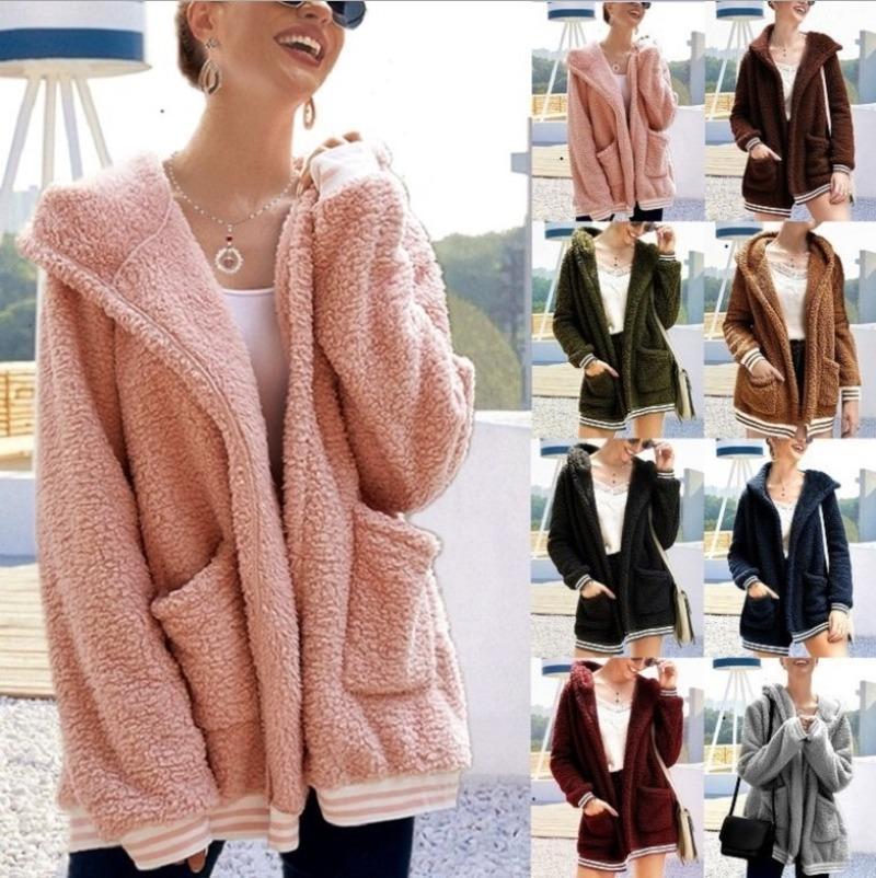 Mulheres chegada inverno algodão macio manga comprida jaqueta senhoras morno outerwear casaco cardigan colar de colarinho outwear mulheres moletom sweatsh