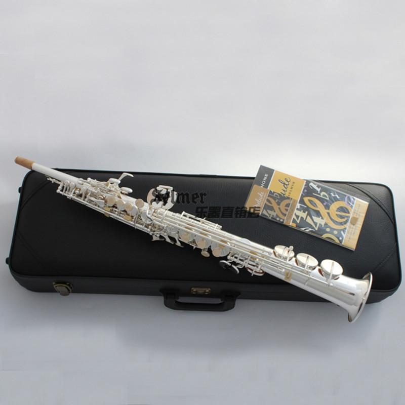 France Henri Super Action SSR54 Soprano Saxophone Silvering Full flower B Tune Model Sax with Reeds Case Mouthpiece Professional