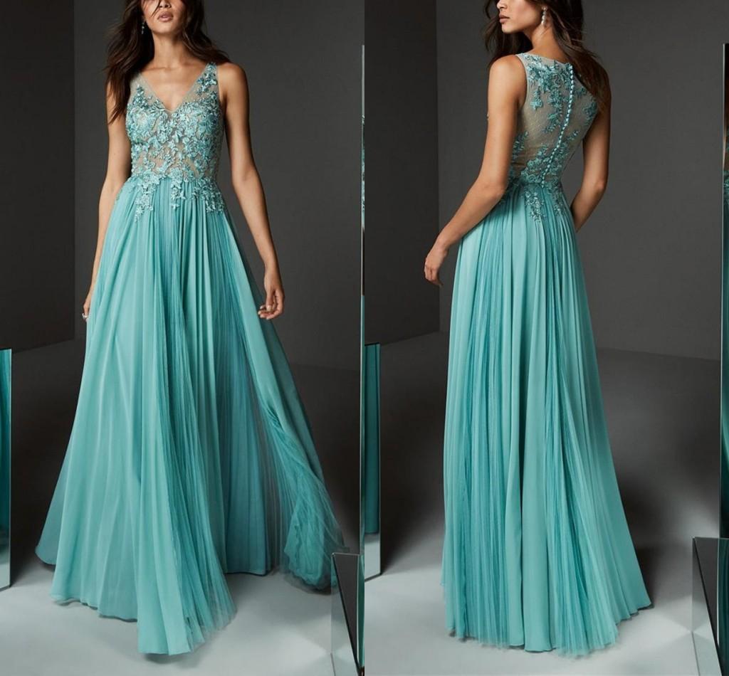 Elegant V Neck Evening Dresses Applique Lace Button Back Prom Dress Floor Length Summer Tulle Custom Made Formal Party Gowns