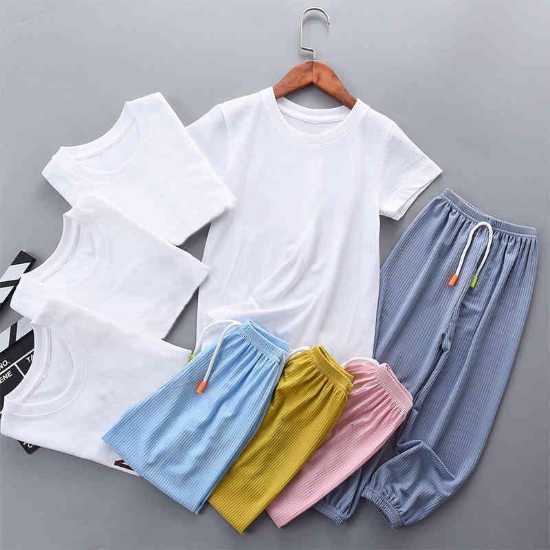 어린이 양복 편안하고 통기성 어린 이용 짧은 소매 안티 스웨트 홈 모기 바지 정장 110-150
