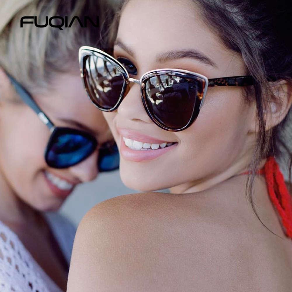 Óculos de sol Fuqian Cateye Mulheres Vintage -Glue Óculos de Sol Moda Mulheres Leopard Shades UV400