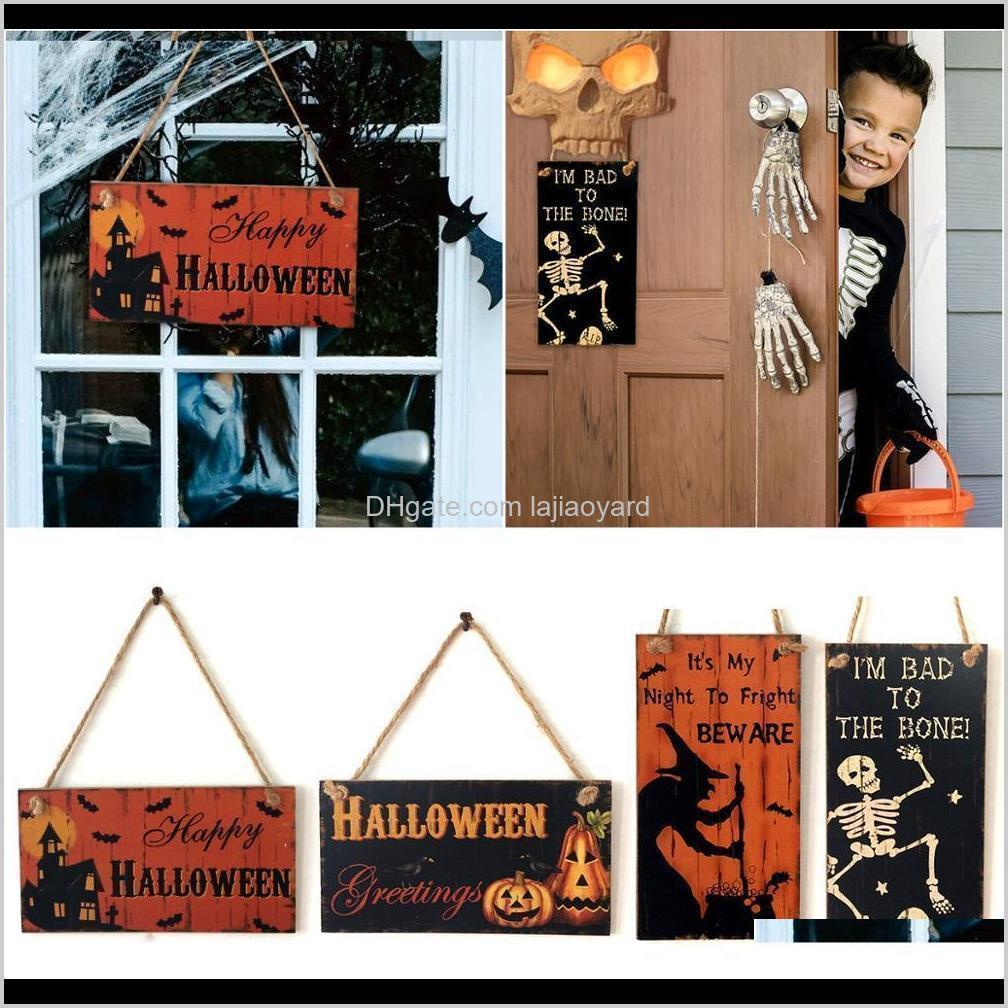 Hanging Signs Trick Or Treat Skull Witch Horror Party Supplies Decoration For Home Halloween Door Decor Wmtsuo 42Vqo Ehn5O
