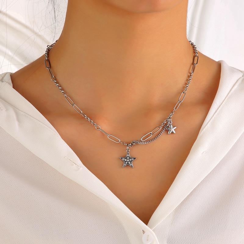 Einfache Edelstahlkette Halskette mit Strassstern Anhänger für Frauen Drop Female Trendy Schmuck CN119 Halsketten