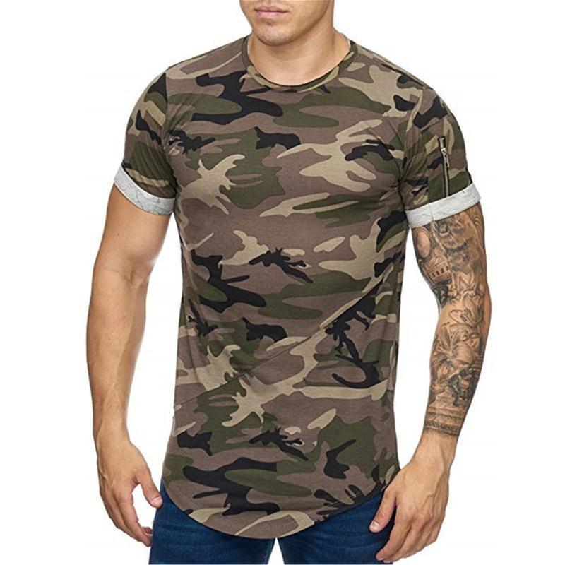 Летняя мода открытый спортивный футбол футболка на молнии карманный карманный дизайн круглые шеи с коротким рукавом повседневный плюс размер мужская одежда
