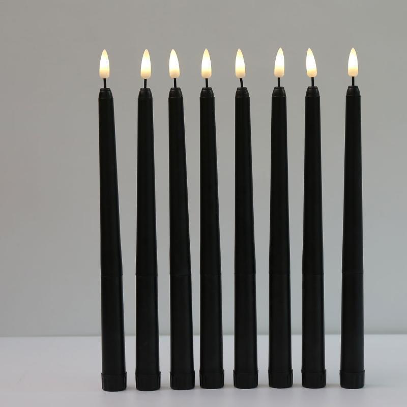 Peças Preto Flameless Clicking Light Bateria Operado LED Christmas Velas Votivas, 28 cm longos castiçais falsos para velas do casamento