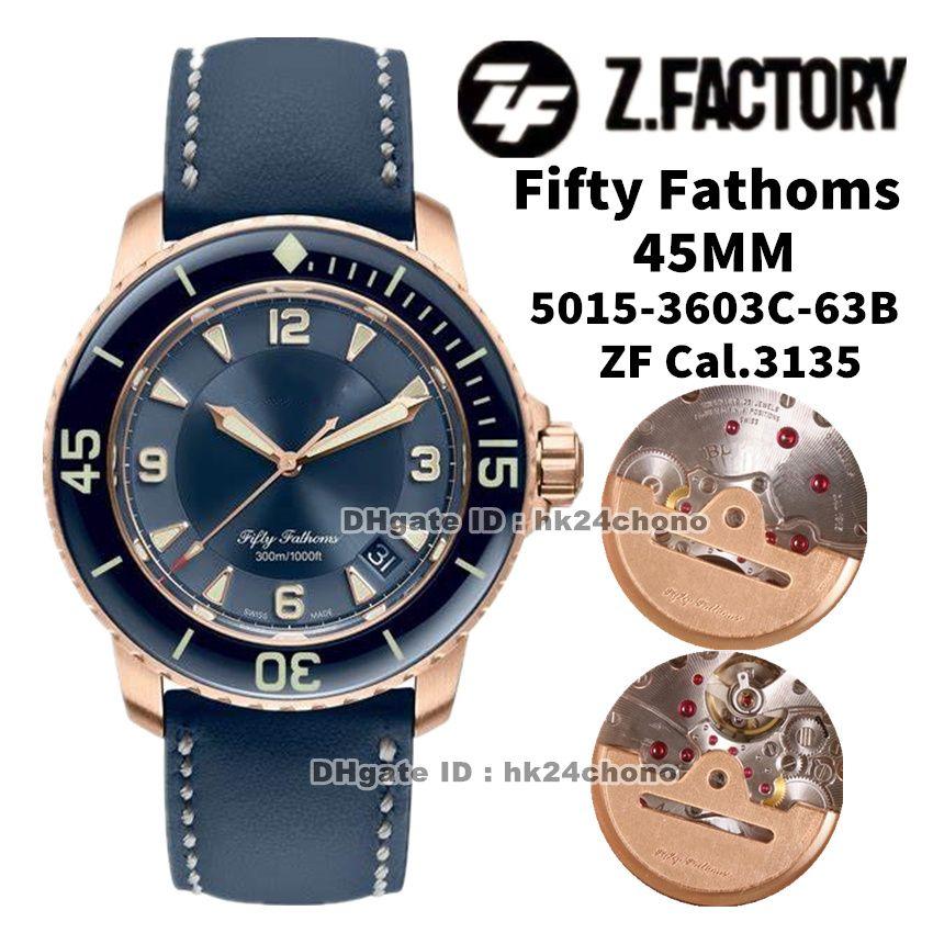 ZF Fábrica Relojes 5015-3603C-63B Cincuenta Fathoms 45mm Rose Gold CAL.1315 Autoamtic Mens Reloj Sapphire Bisel Blue Dial Lienzo Correa Deportes Gents Relojes de pulsera