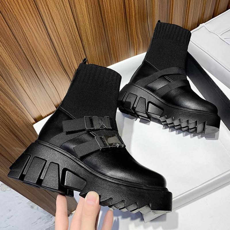 부츠 여자 2021 숙녀 캐주얼 스트레치 패브릭 양말 패션 금속 버튼 여성 신발 플랫폼 고딕