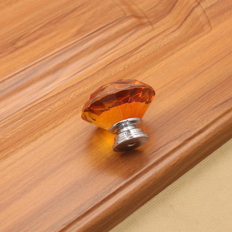 Cocina y tirantes Perillas Armarios Cajón Cajón Manija Muebles de vidrio 30mm Knob Mangos de diamante Tornillo Crystal HHE6155