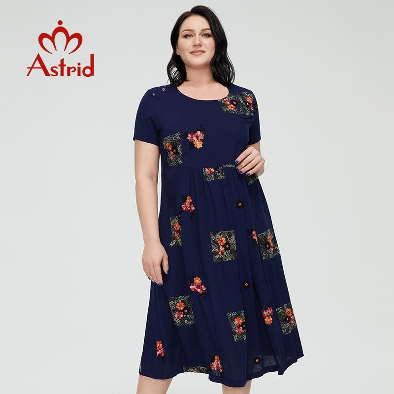 Vestido de verão das mulheres Astrid 2021 para mulheres boho casual elegante vintage vestido de linho plus size bordado flor longa com bolso