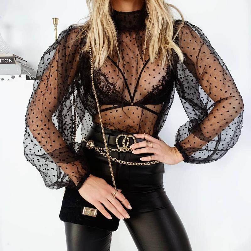 Mode Frauen Mesh Sheer Dot Print Tops Langarm Hohl Dünne Spitze Bottoming Hemd Durchsicht Ploka Dots Sexy Kleidung Frauen Blusen