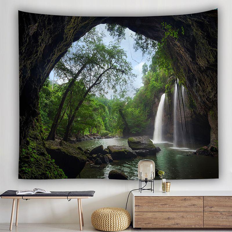 폭포 태피스트리 녹색 정글 숲 나무 자연 풍경 태피스트리 침실 거실 기숙사 벽 매달려 배경 장식