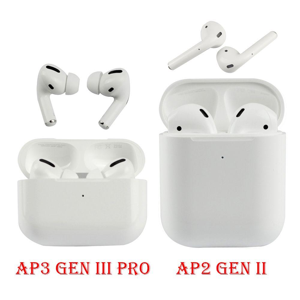 Air Gen 3 AP2 AP3 Fones de ouvido sem fio com caixa de carregamento Renomear GPS Bluetooth Headphones Pods Pro Alta Qualidade Chip Earbuds 2ª geração