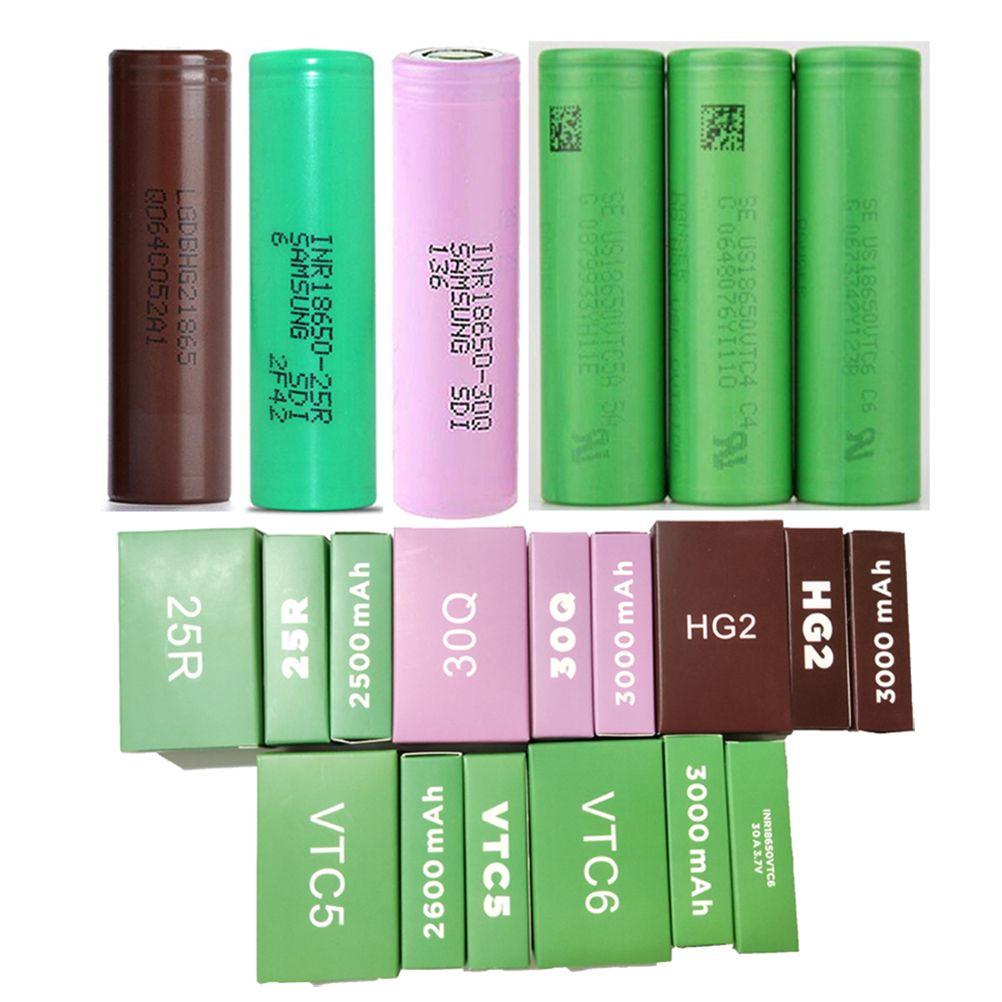 Top Quality INR18650 25R 30Q HG2 VTC5 VTC6 18650 Bateria 2500mAh 2600mAh 3000mAh Verde Roxo Dreno Recarregável Baterias de Lítio para Samsung LG Sony
