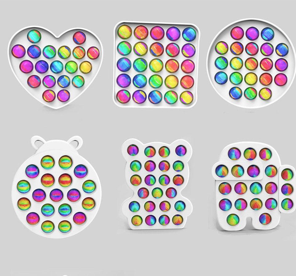 Rainbow Push Popers Bubble Fidget Juguete Versión Actualizada Colorido ABS sensorial Sensor de Ansiedad Cosas para niños Niños Niños Toys de descompresión Regalo y caja anti-estrés