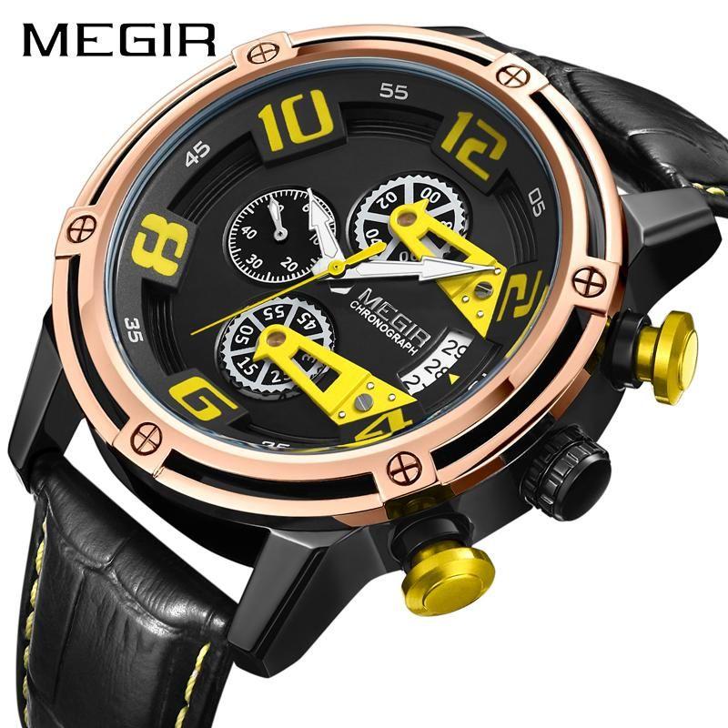 Chronograph Erkekler Saatler Üst Moda Kuvars Bilek İzle Erkek Açık Spor Ordu Saat Relogio Masculino Saatı