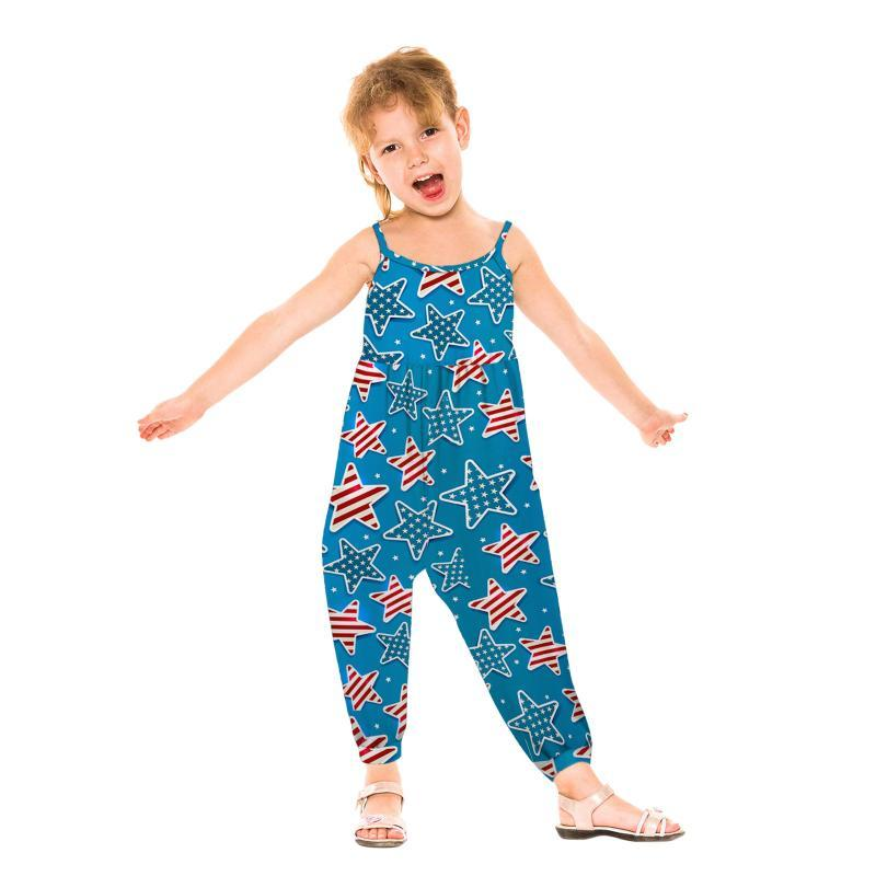 Overallsuits 2021 Independence Day Girls Romper Overall Sommer Amerikanische Flagge Druck Kleinkind Kinder Baby Sleeveless Pocket Playsuit