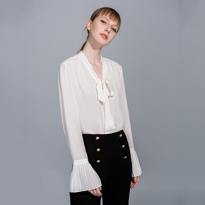 Weiße Seide Chiffon Büro Bluse Frauen Tops und Blusen 2021 Elegante Vintage sexy Boho Langarm Plus Größe Loose Fliege Damenhemden