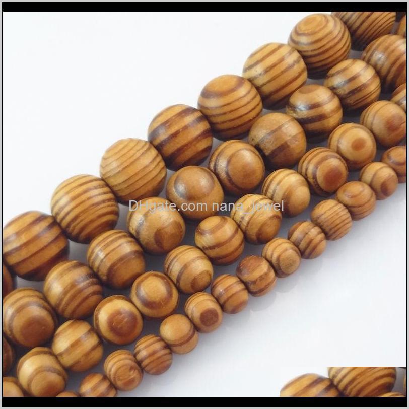 Wood Natural Woodgrain Round Loose Spacer Bead Jewelry Fit Diy Bracelet 68101214 16Mm Vl8Wl D89Nj