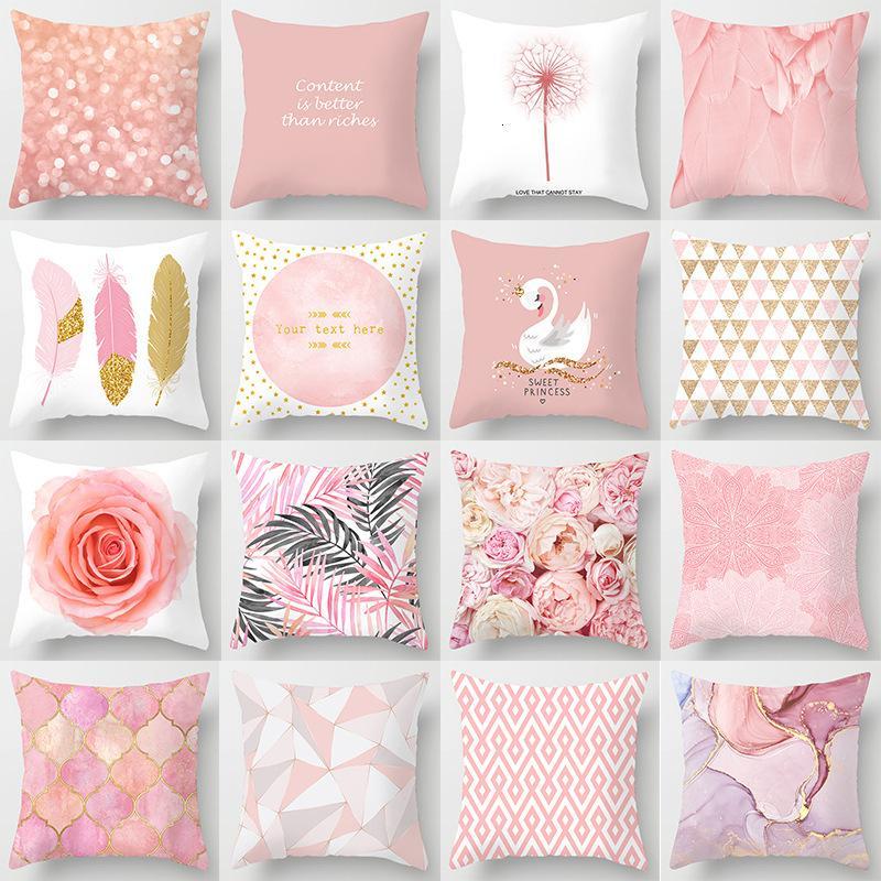Tüy pembe yastık örtüsü ev kanepe yastık başucu