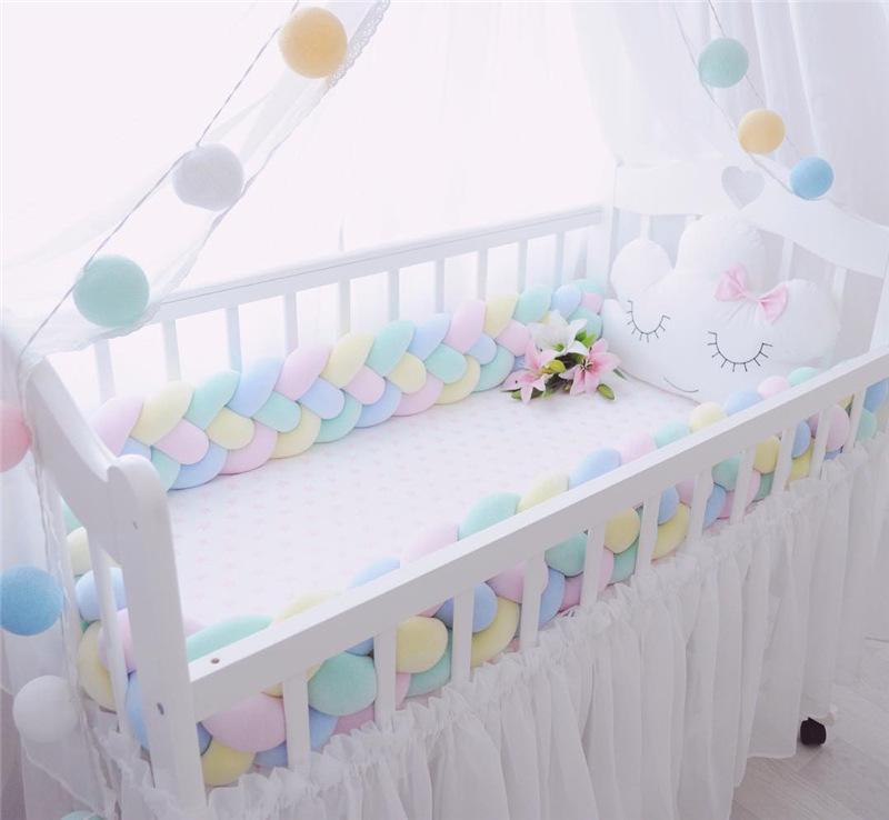 Conjuntos de roupa de cama 2m nó macio Baby Beach lados trança 2 medidor recém-nascido berço pad de proteção de proteção de berço para infantil 834 x2