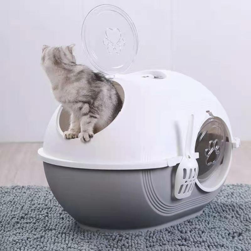 Diğer Kedi Malzemeleri Çöp Kutusu Çift Kapı Kediler Tuvalet Kaymaz Yavru Bedpan Tamamen Kapalı Alan Anti-Splash Pet
