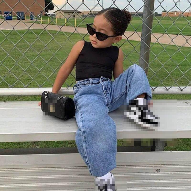 Kids Clothing Sets Girls Outfits Baby Clothes Children Wear Summer Cotton Vest Tops Denim Loose Long Pants Jeans Trousers 2Pcs 2-6Y B5059