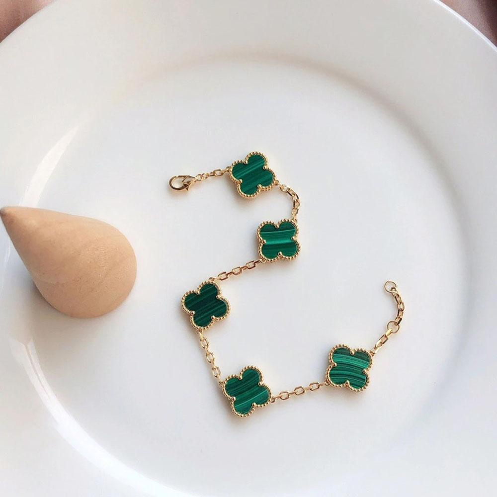 fashion Have stamp high quality chain Four Leaf Clover 5 colors Link Bracelets 18K Gold for Women Girls Valentine's Jewelry