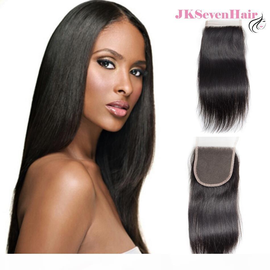 Peinado humano brasileño de 10A Cierre de encaje de 4x4 pulgadas de 4x4 pulgadas Cierre peruano indio malasio recto con cabello preplucidado
