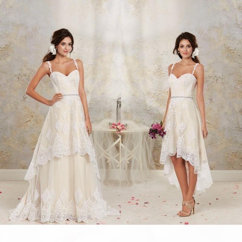 2018 Vintage High Low Lace Brautkleider mit abnehmbarer Zug A Line 2019 Brautkleider Spaghetti-Riemen Schärpe Seidelang