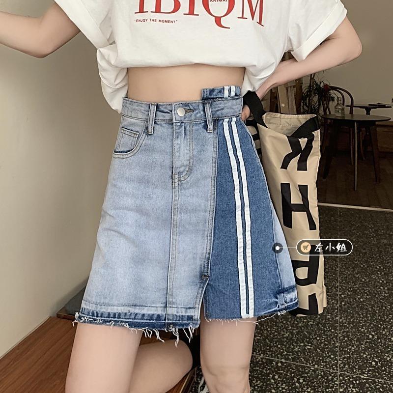Verano 2021 Nuevo diseño de diseño coreano Minority Denim Women Cintura alta Falda irregular Falta