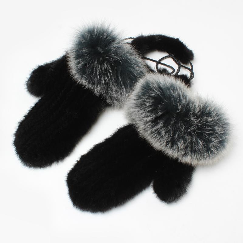 Cinque Guanti dita Fashion Reals Luxury Women Winter Warm 100% Guanto naturale. Alta qualità Tricottato Genuino