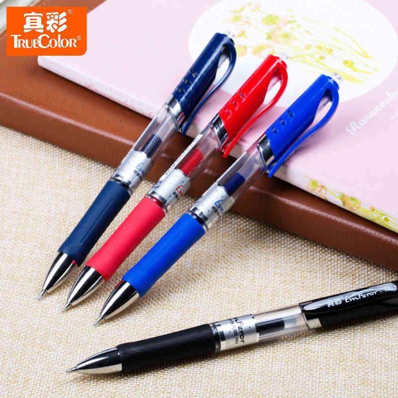 Color A47 True 0.5mm Press Gel Black Blue Red Water Signature Prescription Pen